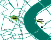 Carte situant les deux espaces du Jardin Botanique
