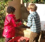 Des enfants jardinent